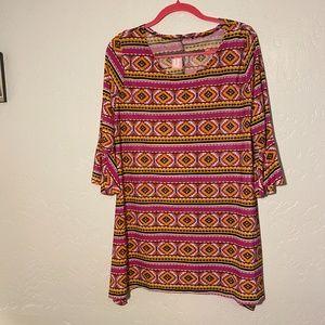 Flirty Pink asymmetrical blouse, size 2X.